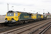 70008, 70001 'Powerhaul' and 66534 'OOCL Express' at Eastleigh on 5th May 2012. The trio were running as 0Y69, 1102 Southampton Maritime to Eastleigh T&RSMD.