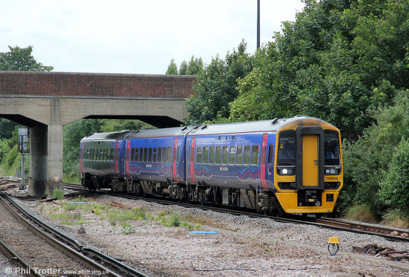 On what is almost exclusively 3rd rail territory, FGW's 158956 approaches Havant forming 1O99, the marathon 1046 Great Malvern to Brighton service on 23rd June 2012.