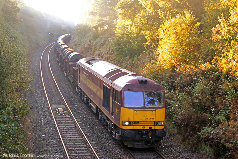 Sunday breakfast time special: 60045 'The Permanent Way Institution' passes Allt-y-Graban with 6B11, 0815 Margam to Trostre on 21st October 2012.