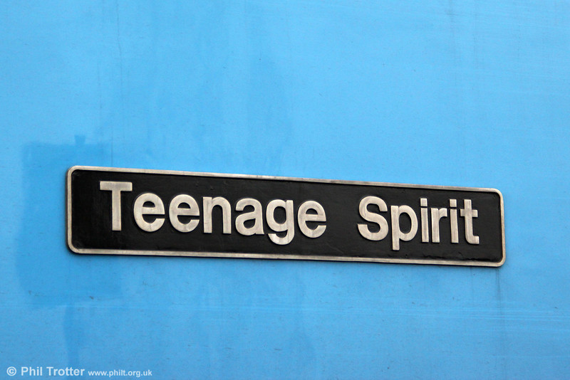 Nameplate of 60074 'Teenage Spirit' at Margam Knuckle Yard on 10th March, 2012.