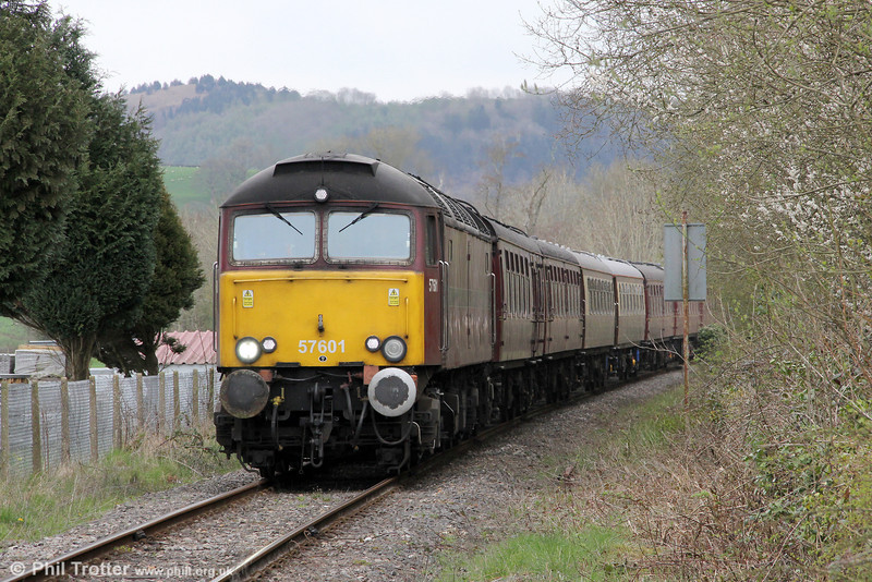 Making its second visit to the area this week, West Coast's 57601 is seen at Llanwrda with private charter 1Z43, 0718 Carnforth to Cardiff Central on 31st March 2012.