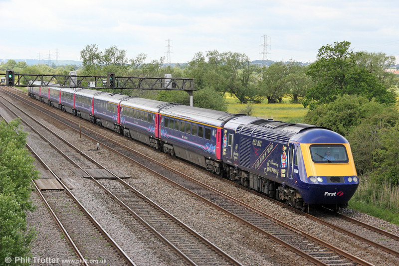 FGW's Diamond Jubilee liveried 43186 passes Coedkernew at the head of 1L52, 1028 Swansea to London Paddington on 4th June 2012.
