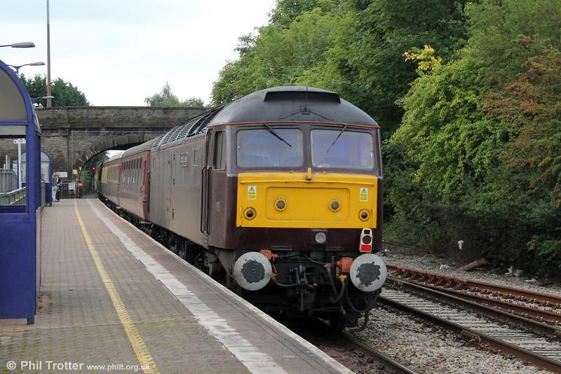 47854 'Diamond Jubilee' brings up the rear of Statesman Rail's 1Z21, 0604 Sheffield to Kingswear,  'The English Riviera Statesman' at Yate on 1st September 2012.