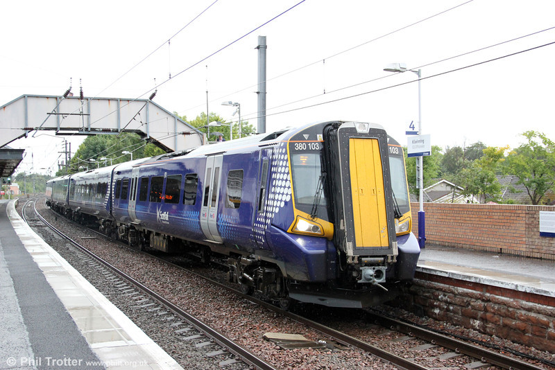 Four-car 380/1 no. 380103 calls at Kilwinning forming 2K13, 1500 Glasgow Central to Ayr on 5th August 2012.
