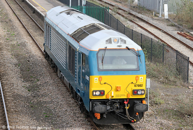 How many pictures of 67002 would you like? Here's another one, running as 0Z63, 1509 Gloucester to Cardiff Canton on 20th March 2010.