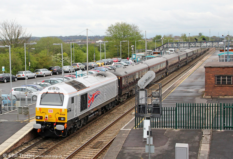 Displaying its new Diamond Jubilee commemorative livery, 67026 'Diamond Jubilee' is seen at the rear of the Royal Train at Severn Tunnel Junction on 27th April 2012. The train was heading back to Wolverton after the Queen's Jubilee tour of South Wales,