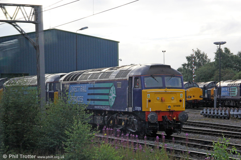 DRS 57009 is seen stabled at Gresty Bridge, Crewe on 4th August 2012. The loco had failed while working 4V38, 0232 Ditton to Tees Dock the previous night.