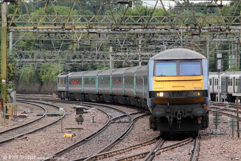 DVT 82114 leads 1P38, 1500 London Liverpool Street to Norwich through Shenfield on 25th August 2012.