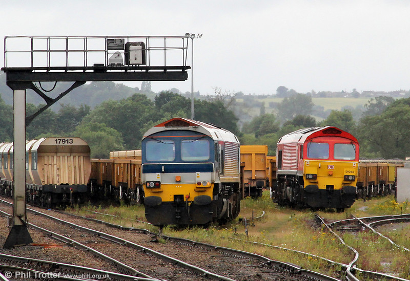 59103 'Village of Mells' and 59206 await their next jobs at Westbury Up Yard on 7th July 2012.