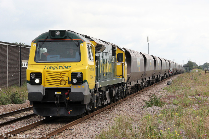 70004 'The Coal Industry Society' is seen at Severn Tunnel Junction with 6M04, 1050 Portbury to Rugeley Power Station on 20th August 2012.