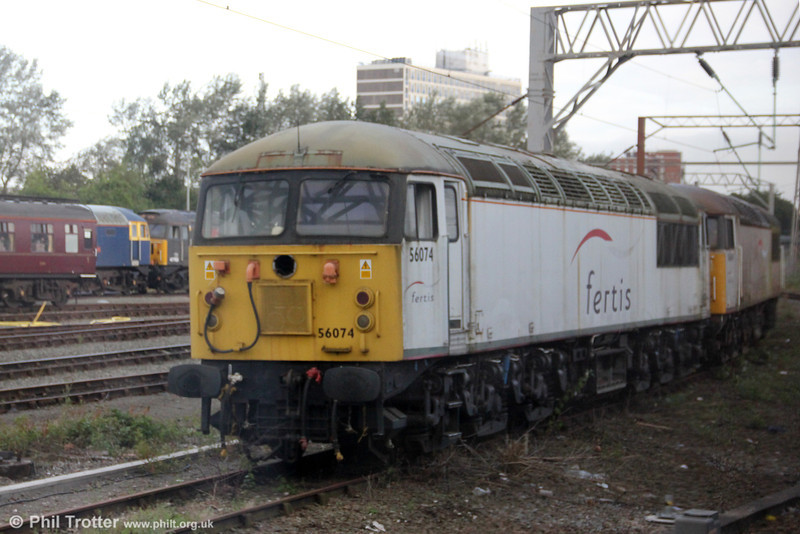 Former Fertis class 56 no. 56074 awaits its fate at Crewe on 4th August 2012.