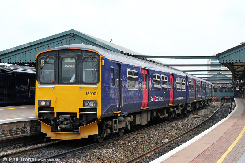 The prototype class 150s, nos. 001 and 002 now have found a new home with FGW, working between Reading and Basingstoke. This releases class 165/166s for strengthening other services. Here, 150001 leaves Reading forming 2J35, 1309 to Basingstoke on 19th May 2012.