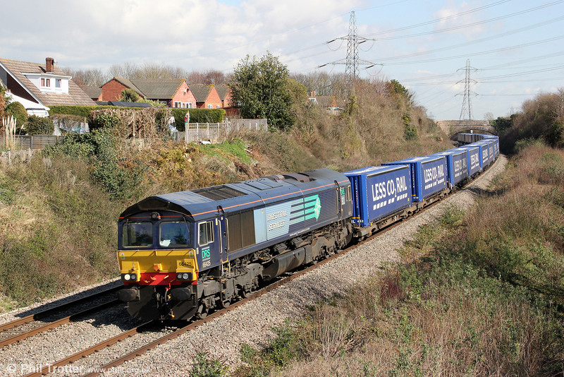 DRS 66425 passes Portskewett with 4V38, 0822 Daventry to Wentloog 'Tesco Express' on 19th March 2012.