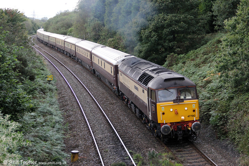 DRS 47790 'Galloway Princess' climbs Cockett Bank with 1Z34, 1522 Fishguard Harbour to Cardiff Central, 'The Northern Belle' on 14th September 2010.