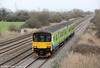 Former London Midland 150108 passes Coedkernew forming 2U10,  0945 Weston super Mare to Cardiff Central on 16th March 2012.