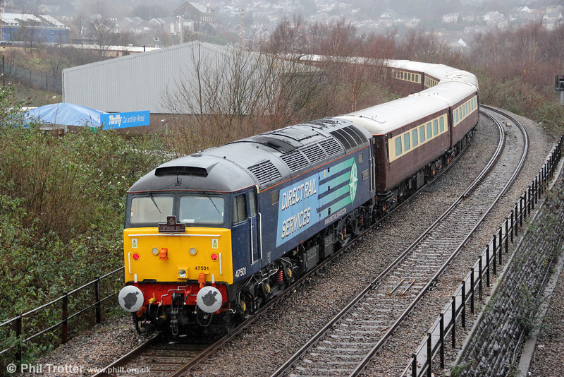 47501 'Craftsman' leaves Swansea at the rear of 1Z27, 1137 Newport to Fishguard Harbour 'Northern Belle' on 19th December 2012.