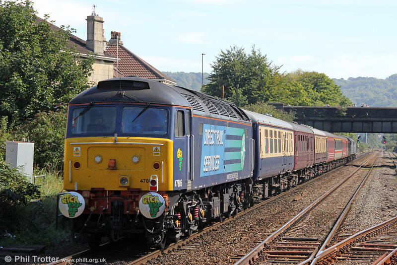 47805 at the rear of 1Z73, 1209 Bristol Temple Meads to London Kings Cross, 'The Africa Express' at Oldfield Park on 8th September 2012.