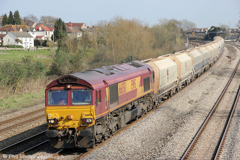 Another Lickey banker, 66058 passes Magor heading 6B35, 1047 Hayes to Moreton on Lugg on 21st March 2012.