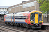 SWT 158887 calls at Eastleigh forming 2S39, 1407 Romsey to Salisbury on 5th May 2012.