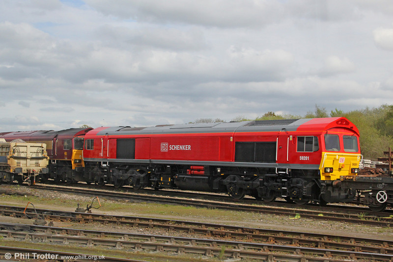 Newly repainted 59201 - which has now lost its nameplates - is seen at Westbury Yard on 5th May 2012.