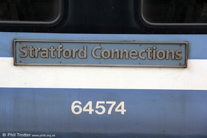 The 'Stratford Connections' nameplate as fitted to DMSO 64574 in unit 315857. Shenfield, 25th August 2012.