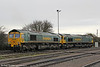 66543 and 66571 in the yard at Stoke Gifford, having arrived as 0C30 from Westbury on 18th February 2012.