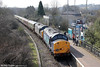 It's always good to see class 37s back in South Wales. DRS 37603 and 37606 attract attention at Tondu with Pathfinder's 1Z37, 0508 Crewe to Tondu Garw Goods Loop, 'The Coal Grinder' on 24th March 2012.