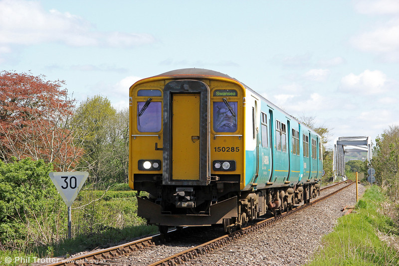 150285 has just crossed Glanrhyd Bridge, forming 2V38, 0900 Shrewsbury to Swansea on 12th May 2012.