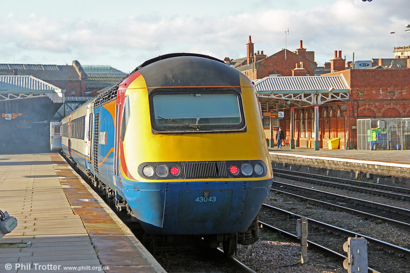EMT's 43043 waits at Nottingham, bringing up the rear of 1B43, 1228 to London St. Pancras on 28th November 2012.