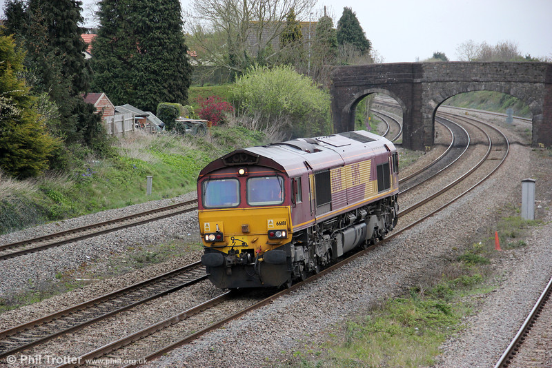 66181 ambles through Undy running as 0V40 from Scunthorpe (!) to Newport ADJ on 14th April 2012.