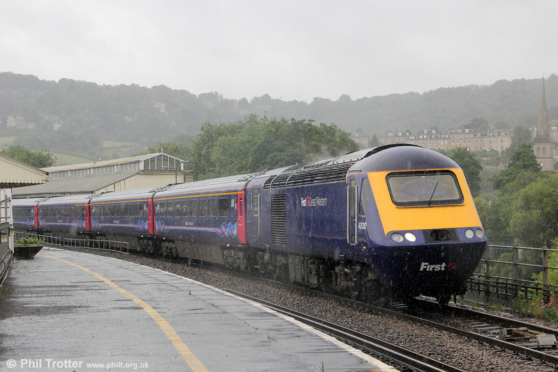 A scene which typifies the weather this summer so far; 'downpour' would be an understatement! 43130 departs from Bath with 5Z30 to St. Phillips Marsh on 7th July 2012. This had previously arrived at Bath as private charter 1Z30, 0922 from Oxford.