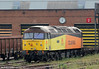An unusual visitor to Cardiff Canton is Colas Rail's 47749 'Demelza', reportedly for bogie repairs, this being the first manifestation of Colas's take over of Pullman Rail, which gives the company a base for its growing fleet of locomotives. The loco is seen on 19th May 2012. Reports suggest that Colas has plans to upgrade/modernise the area of Cardiff Canton which it now has under its control.