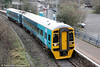 Refurbished 158822 forming the 1045 Cheltenham Spa to Maesteg calls at Tondu on 14th January 2012.