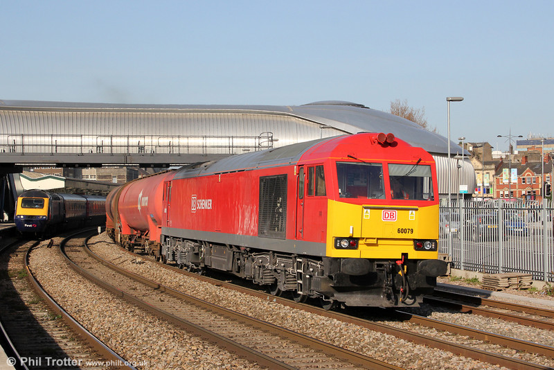 Recently overhauled 60079 passes through sunny Newport with 6B33, 1335 Theale to Robeston on 29th March 2012.