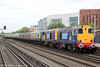 DRS 20312 and 20308 arrive at Eastleigh with Pathfinder's 1Z61, 0623 Crewe to Eastleigh Works, 'The Hampshire Hotchpotch' on 5th May 2012.