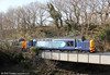 37603 and 37606 on the river bridge at Pontamman with Pathfinder's 1Z66, 1036 Tondu to Cwmgwrach via GCG, 'The Coal Grinder' railtour on 24th March 2012.