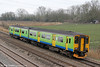 Former London Midland 150216 passes Duffryn forming FGW's 2C77, 1300 Cardiff Central to Exeter St. Davids on 16th March 2012.