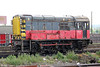 RES liveried 08757 was the resident shunter at Didcot Yard for over a year. The loco is seen at its usual stabling point on 19th May 2012. Note the additional equipment for remote control operation.