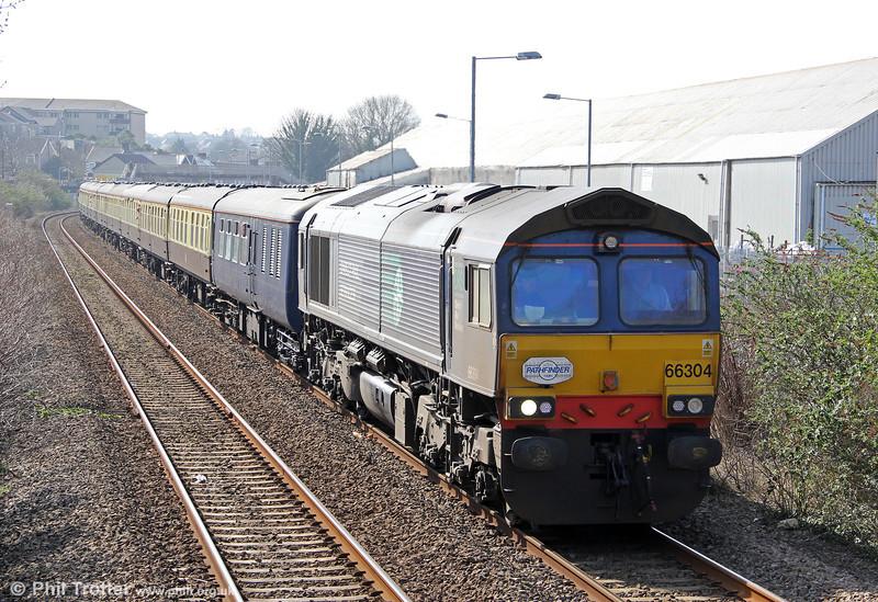 66304 at Melincryddan, Neath with Pathfinder's 1Z66, 1036 Tondu to Cwmgwrach via GCG, 'The Coal Grinder' railtour on 24th March 2012.