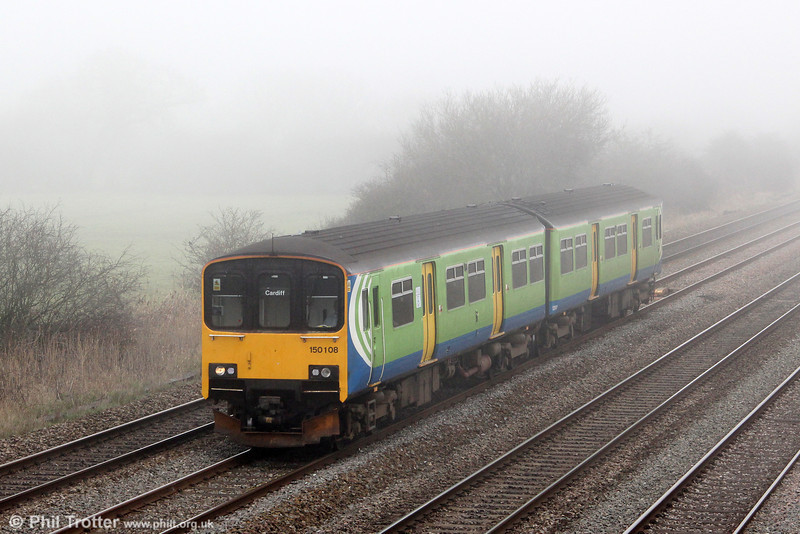 Former London Midland 150108 passes foggy Coedkernew forming 2U12, 0600 Penzance to Cardiff Central on 1st March 2012.
