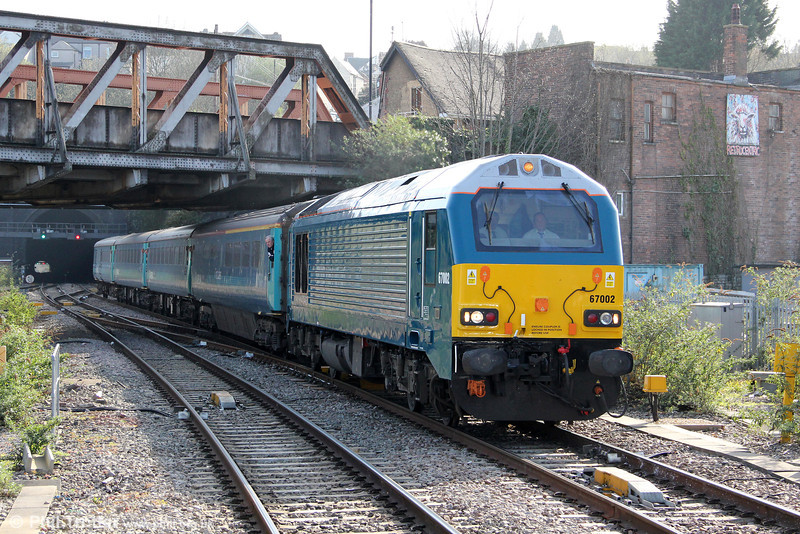 67002 arrives at Newport with 1W91, 1615 Cardiff Central to Holyhead on 29th March 2012.