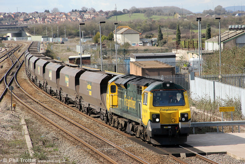 70011 passes Severn Tunnel Junction with 4F56, 1042 Fifoots Power Station to Stoke Gifford on 19th March 2012.