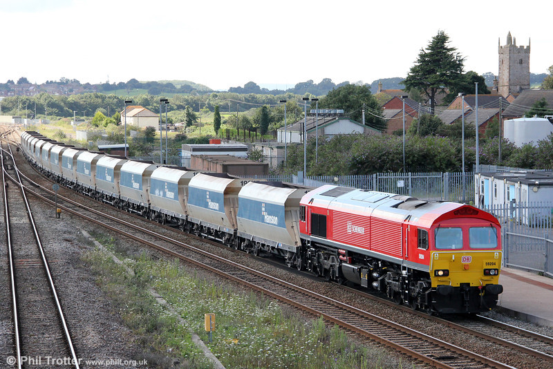 The sun plays its usual trick of disappearing behind a cloud just before recently repainted 59204 heads through Severn Tunnel Junction with 6C83, 1215 Machen Quarry to Westbury on 20th August 2012.