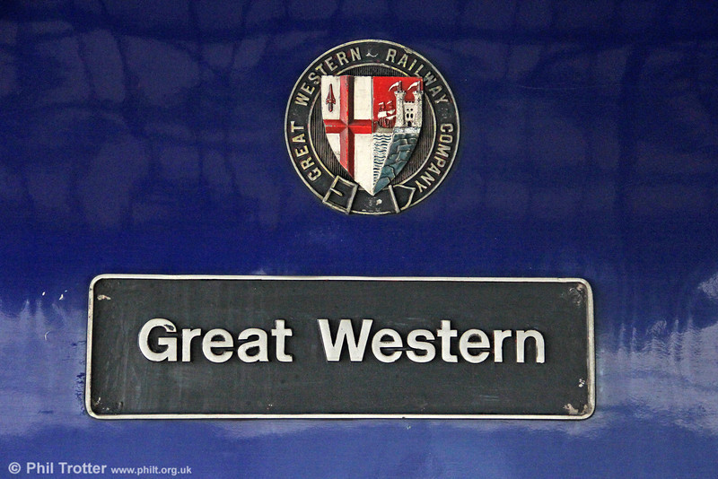 Nameplate and GWR crest as fitted to FGW's 43185 'Great Western' as seen at Reading on 19th May 2012.