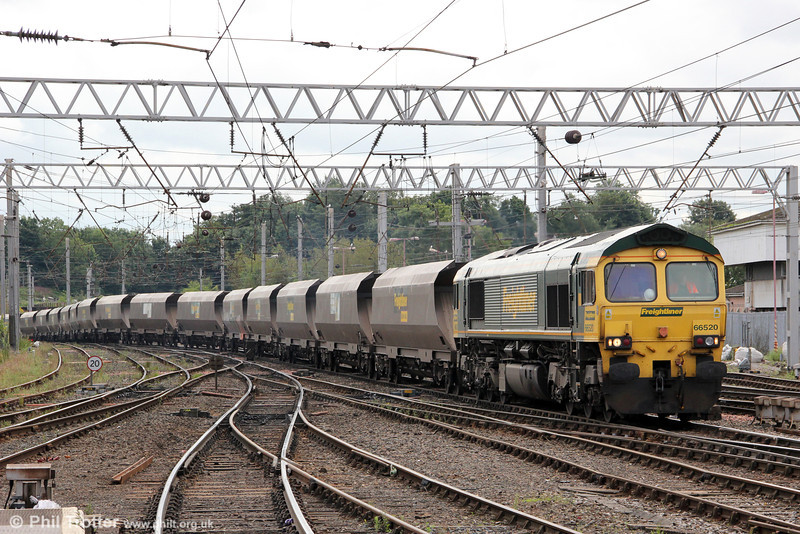 66520 heads through Carlisle with 4S11, 0659 Ferrybridge to Killoch Colliery on 7th August 2012.