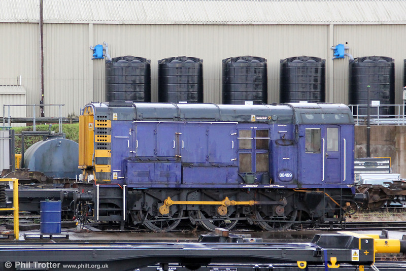 Pullman Rail (now Colas owned) 08499 at Cardiff Canton on 25th September 2012.