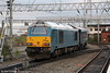67003 propels DVT 82308 through Crewe forming training run 5Z53, 1338 Shrewsbury to Holyhead on 7th November 2012.