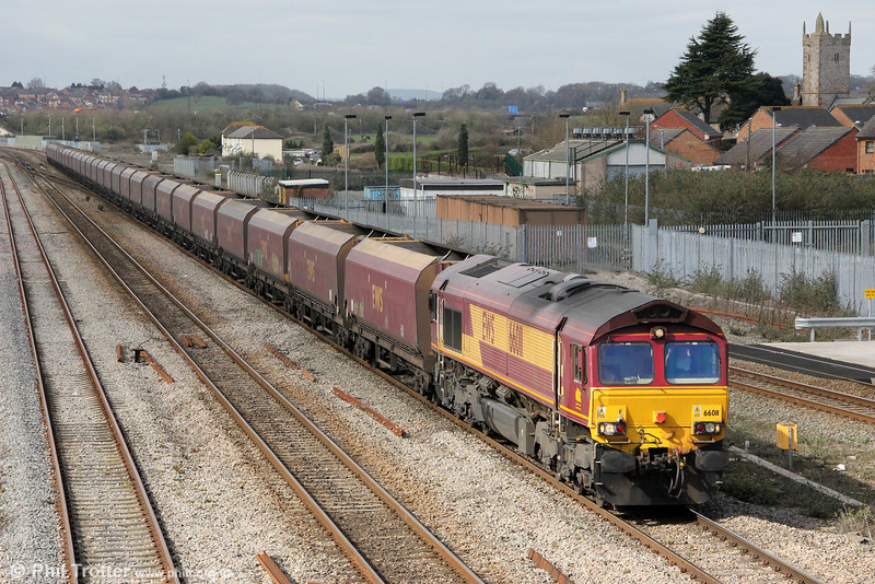 66011 at Severn Tunnel Junction with 4E66, 0855 Margam to Redcar on 20th March 2012.