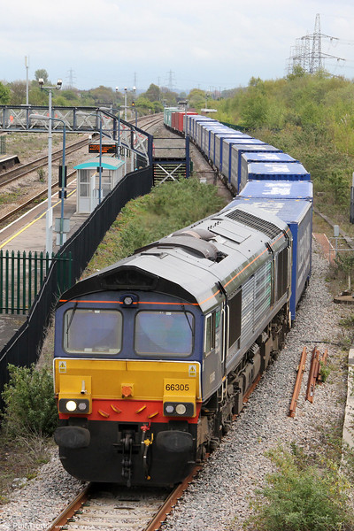 DRS 66305 at Severn Tunnel Junction with 4V38, 0822 Daventry to Wentloog on 27th April 2012. The train was longer than usual on this occasion with the addition of a number of non-Tesco branded containers.