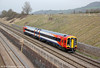 On-hire SWT 158887 returns through Standish forming FGW's 2B94, 1340 Cheltenham Spa to Swindon on 22nd March 2012.